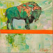 Orange Ridge Bison by Janice Sugg (Oil Painting)
