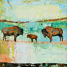 River Valley Bison by Janice Sugg (Oil Painting)