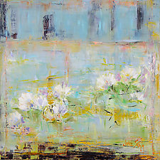 White Lilies in a Golden Field by Janice Sugg (Oil Painting)