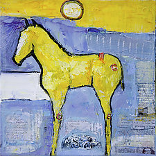 Blue Sky Yellow Horse by Janice Sugg (Oil Painting)