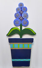 Large Potted Hyacinth by Mary Johannessen (Art Glass Wall Sculpture)