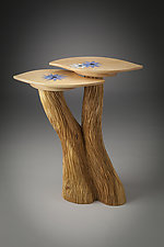 Two-Level Table with Lotus Inlay by Aaron Laux (Wood Side Table)