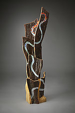Water's Pathway by Aaron Laux (Art Glass & Wood Sculpture)