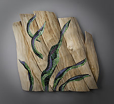 Caught by the Current by Aaron Laux (Art Glass & Wood Wall Sculpture)