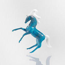 Blue Mustang by Andre Nigoghossian (Art Glass Ornament)