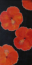Red Hibiscus Feeling Frisky by Pamela Acheson Myers (Acrylic Painting)