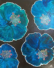 Blue Hibiscus on the Prowl by Pamela Acheson Myers (Acrylic Painting)