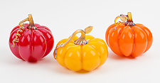 Small Pumpkin Set by Treg  Silkwood (Art Glass Sculpture)
