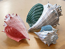 Optic Conch Shells by Treg  Silkwood (Art Glass Sculpture)