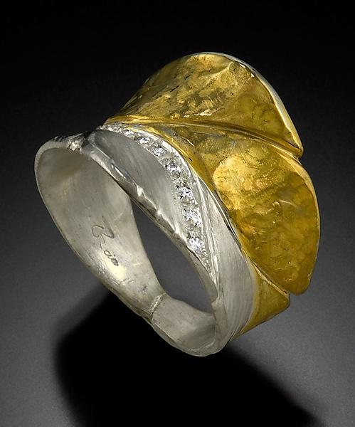 Banana Leaf Ring in Silver & Gold