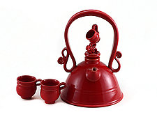 Really Red Teapot Set by Carol Tripp Martens (Ceramic Teapot)