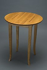 Round Side Table with Inlaid Top by David Kellum (Wood Side Table)