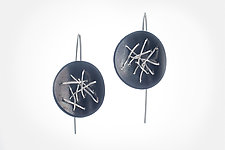 Free-Form Circle Drop Earrings by Suzanne Schwartz (Silver Earrings)