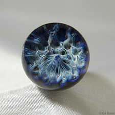 Crenulated Blues by Aaron Slater (Art Glass Paperweight)
