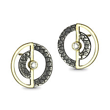 Orbit Studs by Megan Clark (Gold, Silver & Stone Earrings)