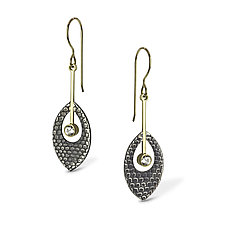 Etched Feather Drop Earrings by Megan Clark (Gold, Silver & Stone Earrings)