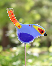 Momma & Baby Garden Birds by Terry Gomien (Art Glass Sculpture)