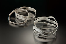 Set of Five Hammered Bangle Bracelets by Suzanne Schwartz (Silver Bracelets)