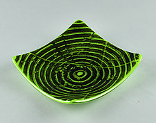 Lime Green and Black ColorCentric Everything Dish by Terry Gomien (Art Glass Candy Dish)