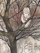 Snowy Owl in the Maine Woods by Diana Arcadipone (Watercolor Painting)