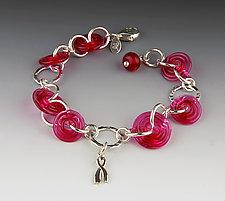Dorothy's Bracelet in Cranberry by Dianne Zack (Silver & Glass Bead Bracelet)