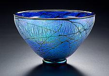 Blue Lustre Bowl by David Lindsay (Art Glass Bowl)