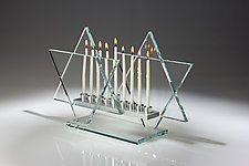 Crystal Clear Menorah Bet by Sidney Hutter (Art Glass Menorah)