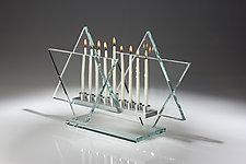 Crystal Clear Menorah Bet by Sidney Hutter (Art Glass Menorah)