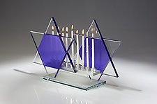 Majestic Violet Menorah Bet by Sidney Hutter (Art Glass Menorah)
