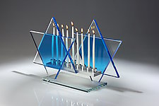 Royal Blue Menorah Bet by Sidney Hutter (Art Glass Menorah)