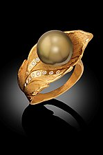 Banana Leaf Pearl Ring by Rosario Garcia (Gold, Pearl & Stone Ring)