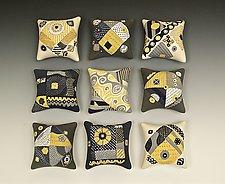 Nine Mouse Pillows by Darlene Davis (Ceramic Wall Sculpture)
