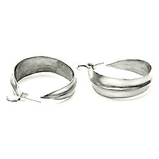 Leaf Hoop Earrings by Julie Cohn (Silver Earrings)