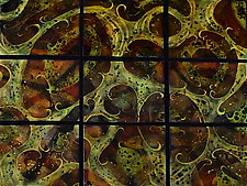 Transitions in Nine Panels by Cynthia Miller (Art Glass Wall Sculpture)