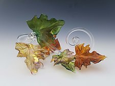 Quintuple Glass Leaf Sculpture in Multi by Jacqueline McKinny (Art Glass Sculpture)