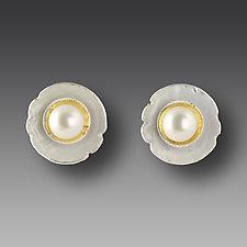 Pearl Shell Earrings by Jennifer Park (Silver & Pearl Earrings)