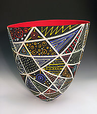 Tall Vase with Stripes with Red Interior by Jean Elton (Ceramic Vase)