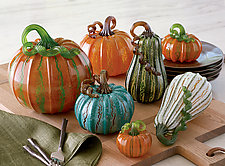 Crackle Pumpkins by Leonoff Art Glass  (Art Glass Sculpture)