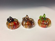 Harvest Surreal Mini Pumpkin by Leonoff Art Glass  (Art Glass Sculpture)