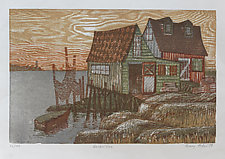 Harbor Eve by Penny Feder (Woodcut Print)