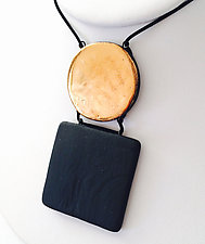 Square and Disk Pendant Necklace by Syra Gomez (Ceramic Necklace)