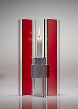 Red and Silver Deco Candle Holder by Sidney Hutter (Art Glass Candleholder)