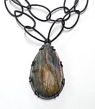 Long Labradorite Necklace by Megan Auman (Steel & Stone Necklace)