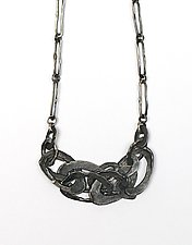Melted Ovals Chain Link Necklace by Lauren Passenti (Silver Necklace)