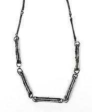 Hammered Ovals Mixed Chain Link Necklace by Lauren Passenti (Silver Necklace)