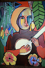 Music of Banjo Girl by Gale  Gibbs (Acrylic Painting)
