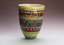 Multicolored Tall Vase by Jean Elton (Ceramic Vase)
