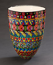 Multicolored Tall Vase by Jean Elton (Ceramic Vase)