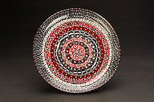 Intricate Black & Red Platter by Jean Elton (Ceramic Vessel)