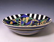 Geometric Bowl with Checkerboard Frame by Jean Elton (Ceramic Bowl)